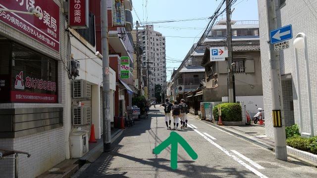 大阪阿倍野昭和町カイロプラクティック院へのアクセス・sumoFru左に曲がりまっすぐ